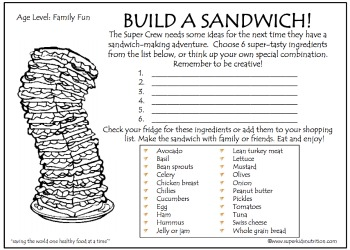 build a sandwich age level family fun - Childrens Activity Sheets