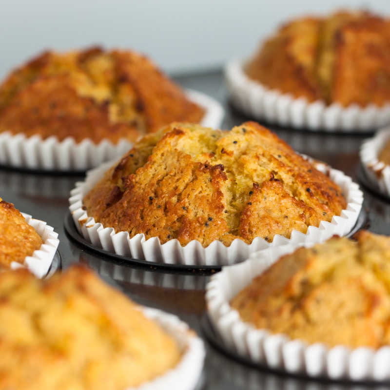 healthy muffins in tin after baking