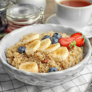 healthy breakfast cereal with banana and blueberry
