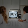 Mental imprinting concept - kids watching old television set