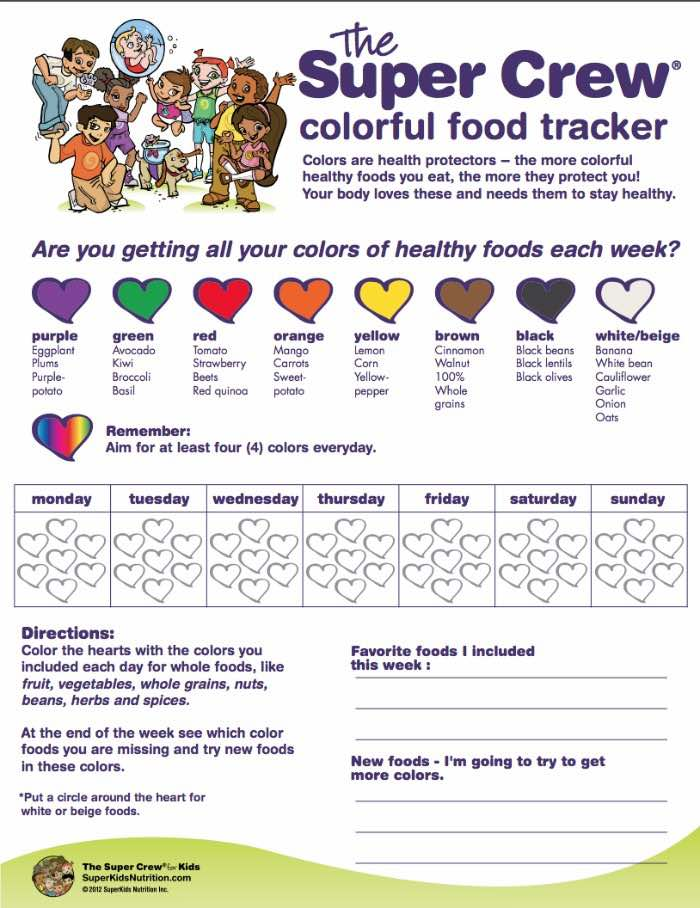 tracking fruit and vegetables for kids