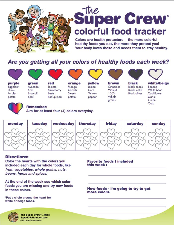 The super crew colorful food tracker for healthy holiday eating