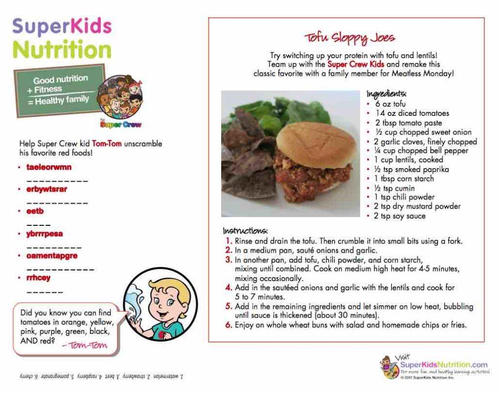Tasty tofu sloppy joe recipe activity for kids – Health, Kids
