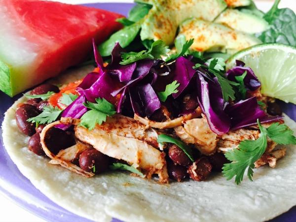 Budget Tacos Shredded Rotisserie Chicken and Blackbeans recipe