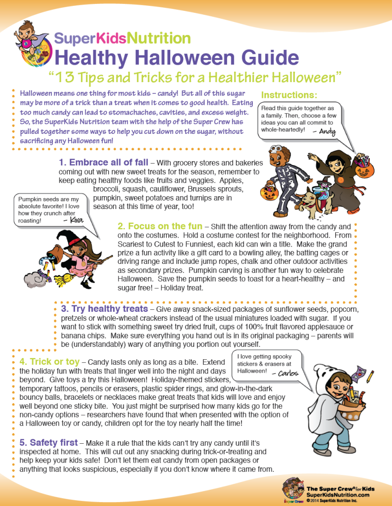 SuperKids Nutrition Healthy Halloween Guide with kids activities
