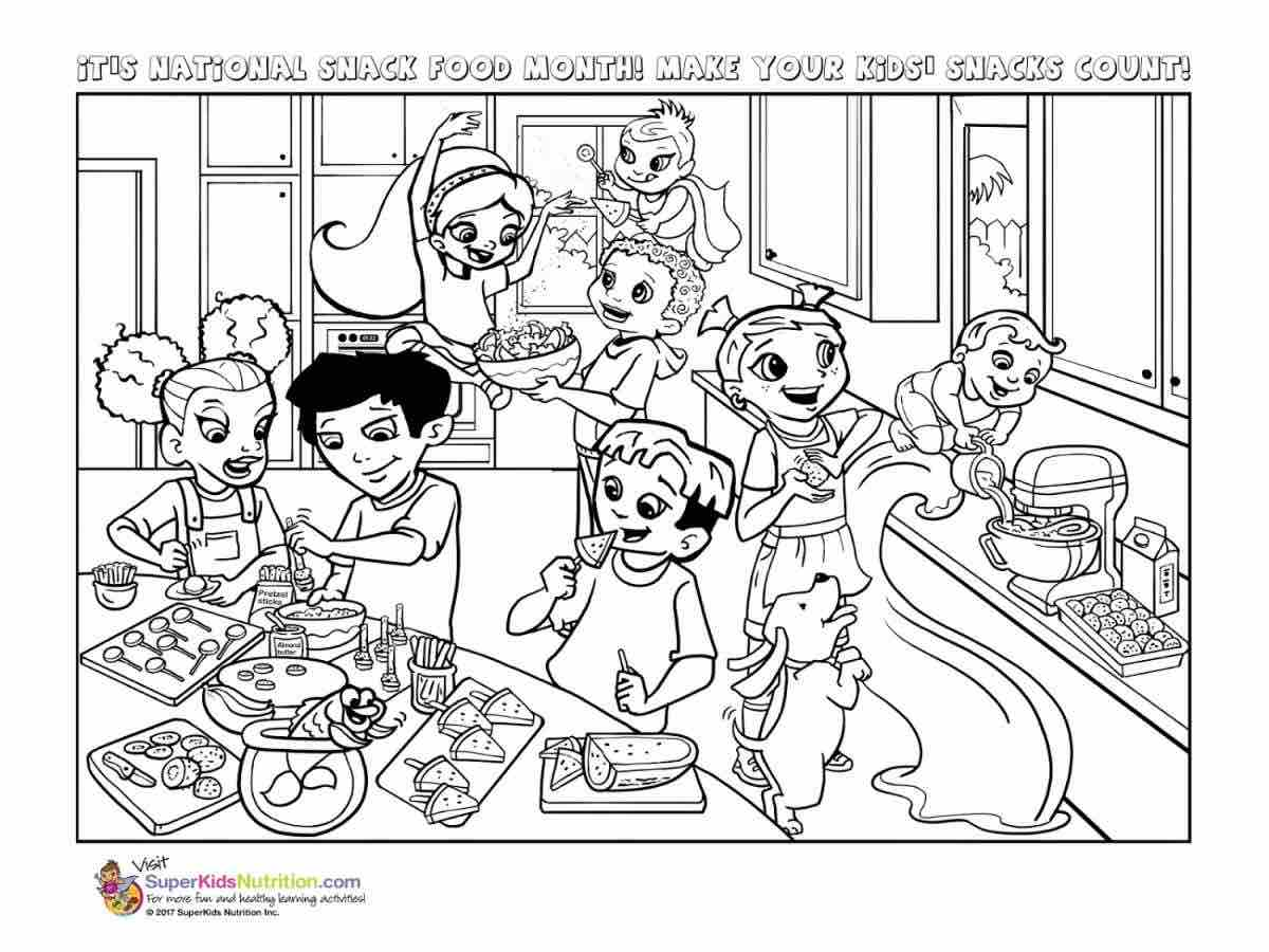 free nutrition coloring pages for kid with healthy snacks