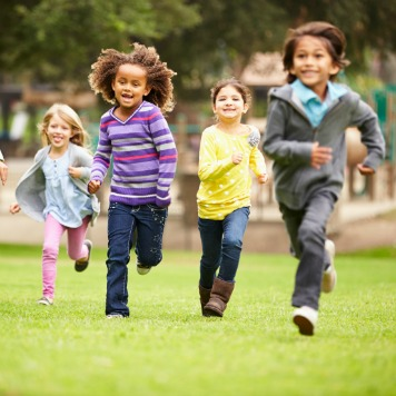 healthy kids running playing