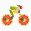 Fruits and vegetables in the shape of a cyclist on a bike.
