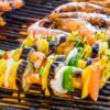 Barbecue Grill cooking vegetable - background eat Restaurant