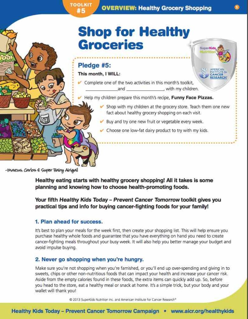 Healthy grocery shopping activity for kids with the Super Crew