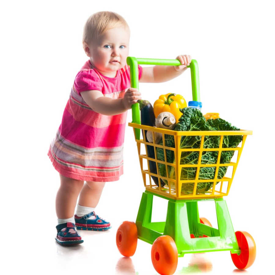image of 2 year old pushing cart for sample menu for 2 year old - SuperKids Nutrition