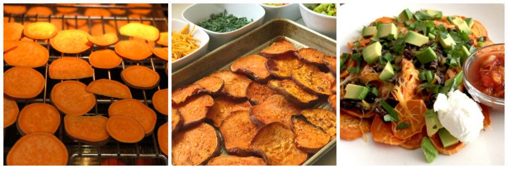 sweet potato nacho collage with toppings