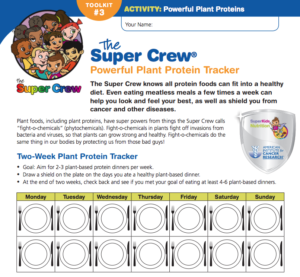 Plant-based protein tracker nutrition activity for kids with the Super Crew