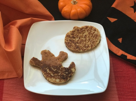 pumpkin pancakes for kids in the shape of a ghost and pumpkin