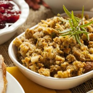 Homemade Thanksgiving Stuffing Made with Bread and Herbs for plant-based thanksgiving - SuperKidsNutrition.com