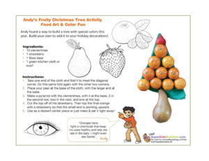 Andy's Fruity Christmas tree activity with christmas tree made of oranges, a pear, and a strawberry