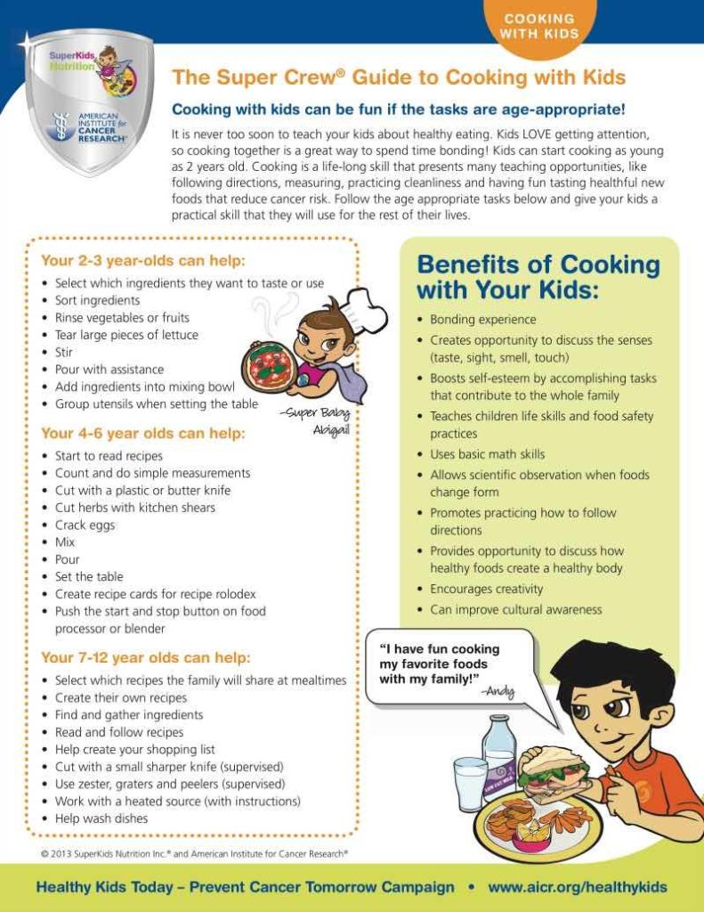 what can kids cook at certain ages