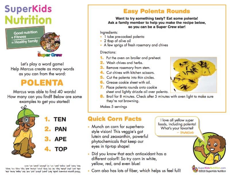 kids nutrition recipe activity easy polenta chips with the Super Crew