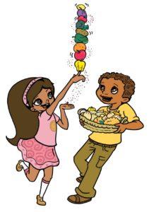 Super Crew characters juggling fruit