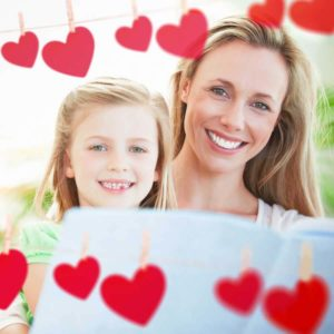 mom and daughter with hearts doing fun valentines day activities