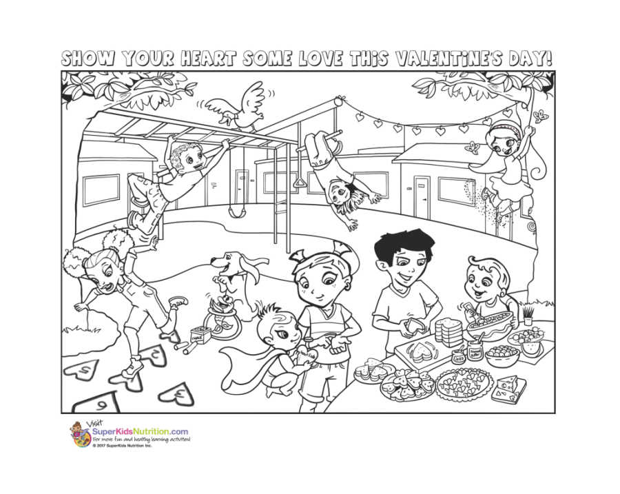 Valentines day 2018 Super Crew Coloring Page for Kids