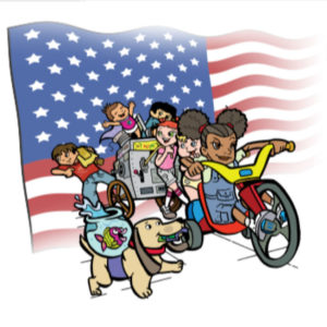 super crew characters on bike with american flag