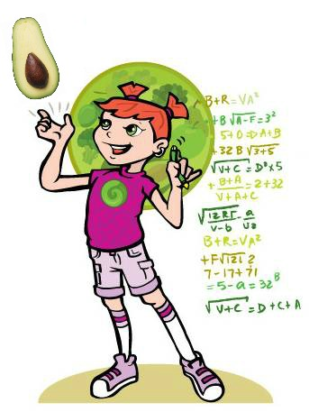 Super Crew character Jessie with math equations and avocado