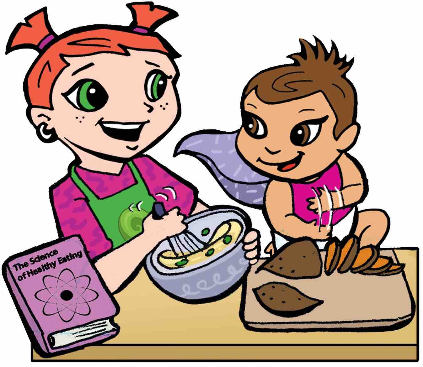Super Crew characters Jessie and Super Baby Abigail cooking together and chopping sweet potatoes
