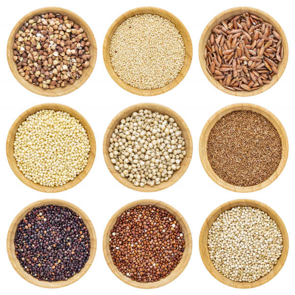 Mix of grains and legumes with buckwheat, beans, and seeds