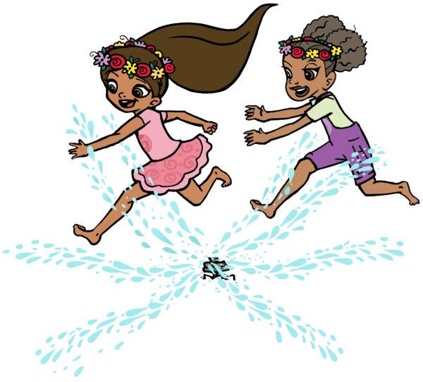 Kira Penny running over sprinkler for an outdoor activity