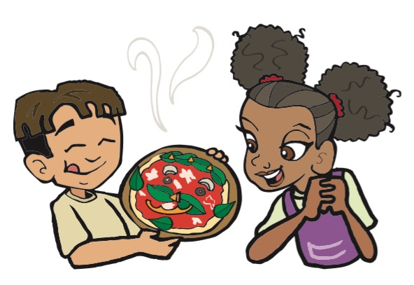 Super Crew characters andy and kira holding a pizza with a face made out of basil leaves and mushrooms