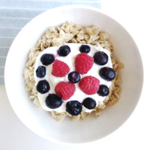 Oatmeal with blueberries, raspberries, greek yogurt