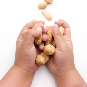 Children's Hand Holding Peanuts, isolated on a white background, introducing peanuts to your child - SuperKidsNutrition