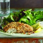 crispy cod fillet with panko and walnuts