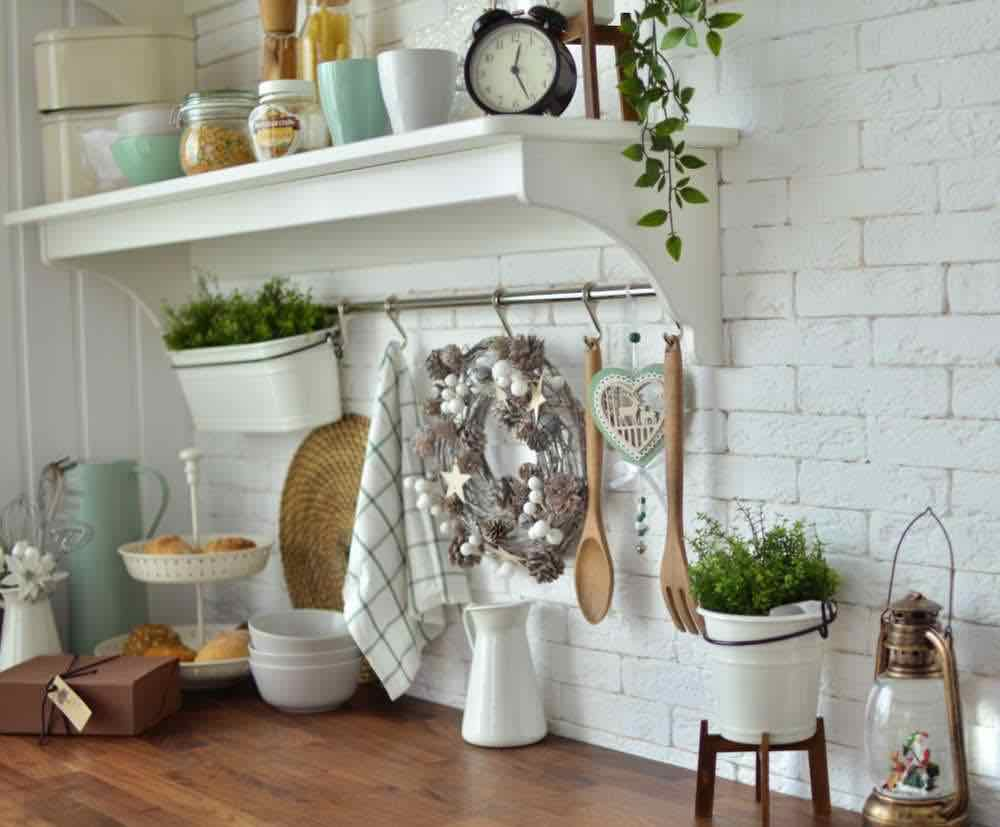 kitchen with Christmas decorations and indoor herb garden
