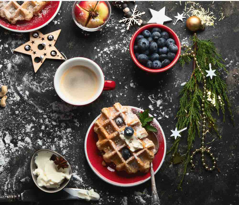 christmas waffles made from christmas gifted waffle maker
