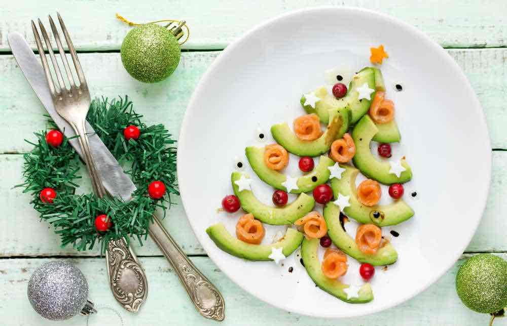 Cucumber avocado salmon food art