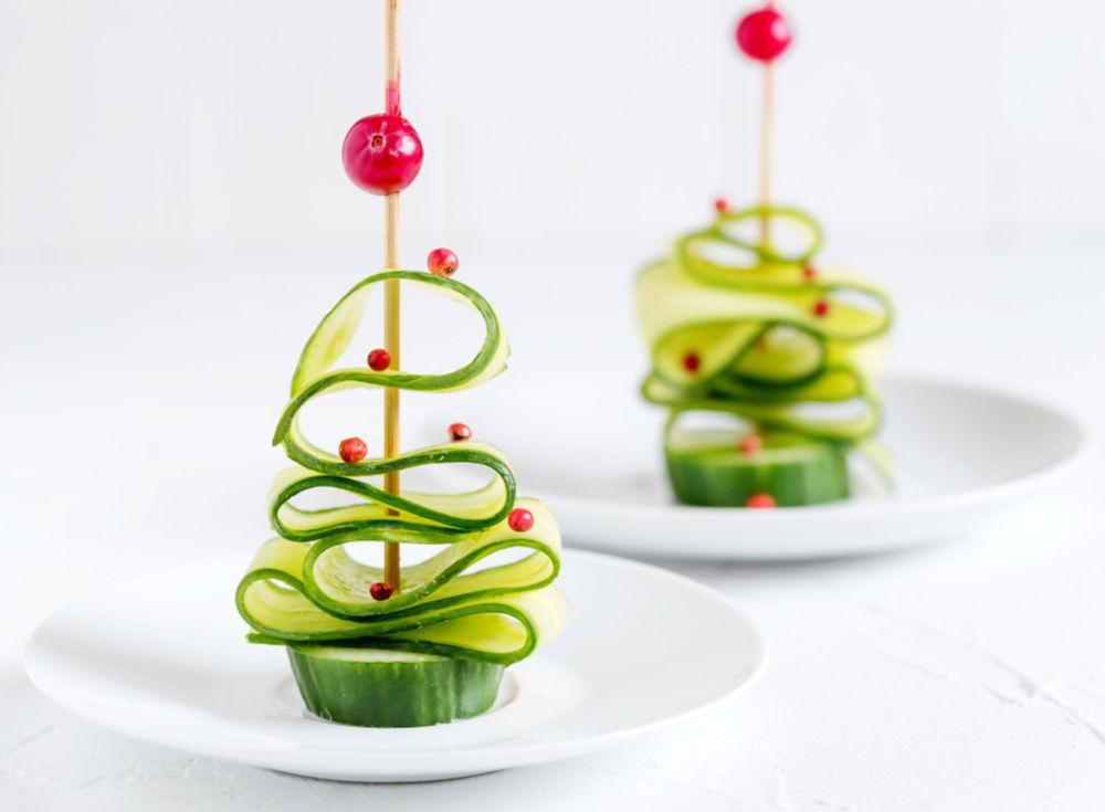 Cucumber Christmas tree, food art