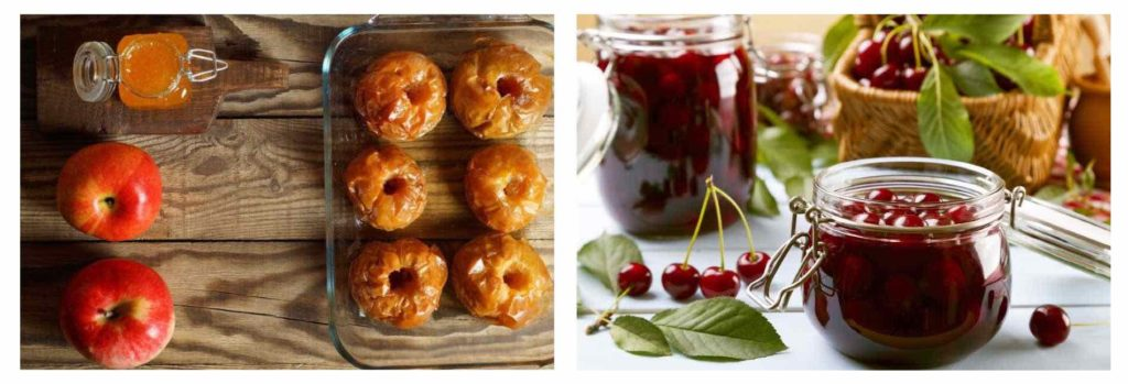 baked apples and cherry sauce for healthy holiday desserts