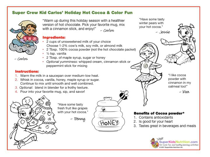 Nutrition activity for kids holiday hot cocoa with the Super Crew kids
