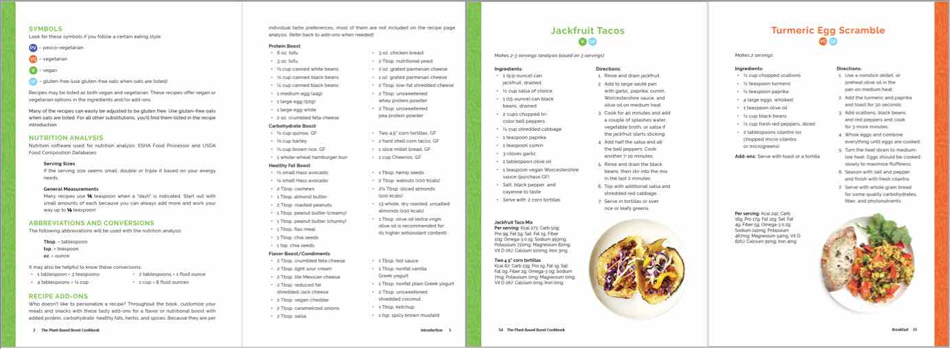 Plant-based boost cookbook sample pages