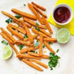 carrot fries with ketchup and lime