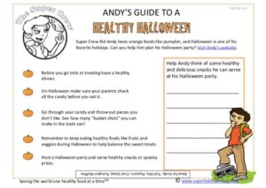 Andy's Guide to a Healthy Halloween Feature kids activity superkids nutrition