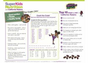 California Raisins Crack the Code activity sheet