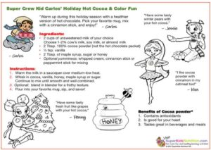 Carlos Hot Cocoa kids recipe and activity superkids nutrition