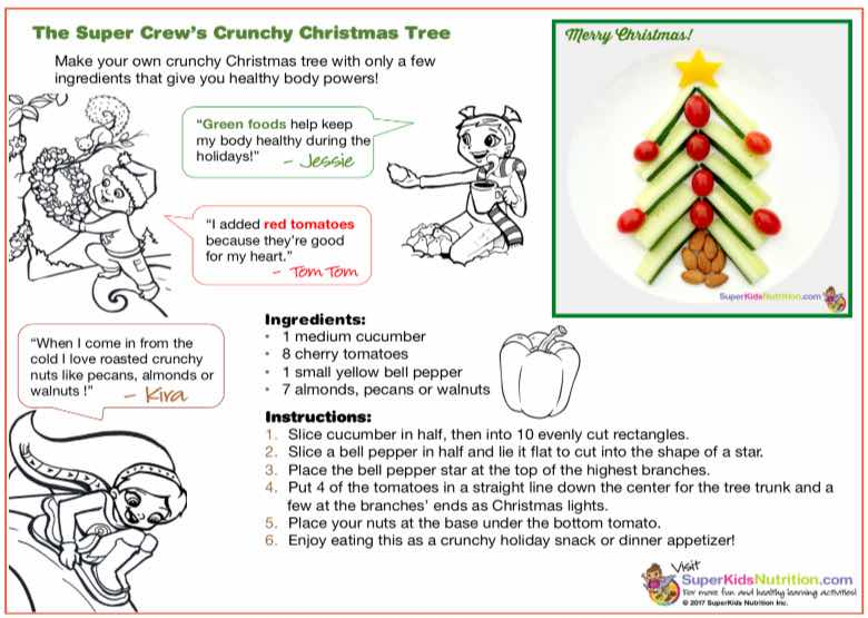 Christmas Tree Food Art kids activity superkids nutrition