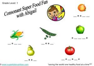 Consonant Super Food Fun Abigail kids activity superkids nutrition