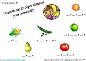 Consonants Super Food Abigail (Spanish) kids activity superkids nutrition
