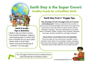 earth day and the Super Crew kids activity superkids nutrition