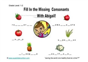 food consonants kids activity superkids nutrition